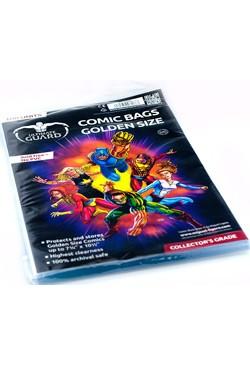 100 hochwertige Schutzhüllen für Comics mit einer Größe bis zu 19,69 x 26,67 cm (7 3/4 x 10 1/2 inches).<br /><br />- Höchste Transparenz<br />- Ohne PVC, säurefrei<br />- Archivierungssicher