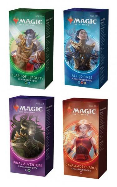 Challenger Decks sind individuelle Decks mit 75 Karten, die sich für Standard und Friday Night Magic Spieler eignen. Jedes Deck kommt mit einem 60-Karten Hauptdeck und einem 15-Karten Sideboard daher und ist dafür vorgesehen direkt aus der Box spielbar un