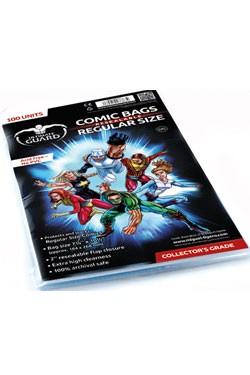 100 hochwertige und wiederverschließbare Schutzhüllen für Comics mit einer Größe bis zu 18,10 x 26,35 cm (7 1/8 x 10 3/8 inches).<br /><br />- Höchste Transparenz<br />- 5 cm breite, wiederverschließbare Verschlußlasche<br />- Ohne PVC, säurefrei<br />- A