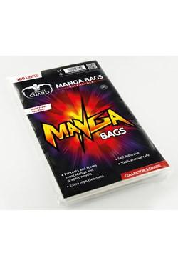 100 hochwertige und wiederverschließbare Schutzhüllen für Mangas mit einer Größe bis zu 15 x 21,8 cm.<br /><br />- Passend für die meisten Mangas und Graphic Novels<br />- Extrem hohe Transparenz<br />- wiederverschließbare Verschlußlasche<br />- Ohne PVC