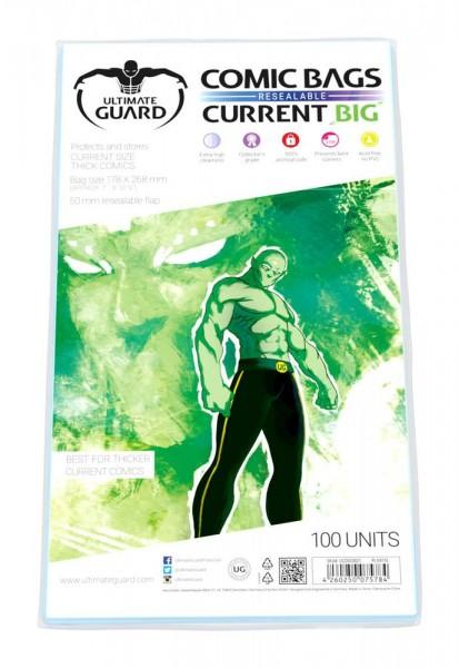 100 hochwertige und wiederverschließbare Schutzhüllen für besonders dicke Comics mit einer Größe bis zu 178 x 268 mm (7 x 10 1/2 inches).- Höchste Transparenz- 5 cm breite, wiederverschließbare Verschlußlasche- Ohne PVC, säurefrei- Archivierungssicher