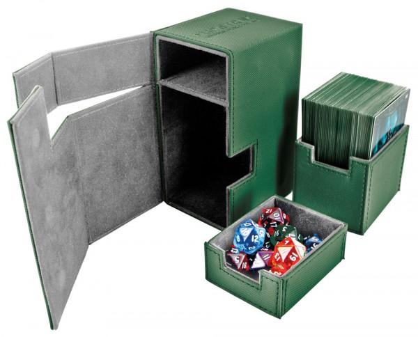 Luxuriöse Kartenbox mit Magnet-Verschluss und Karten- und Zubehörfächern für den Schutz und die archivierungssichere Aufbewahrung von bis zu 80 Karten der Standardgröße (z.B. Magic the Gathering, Pokemon, usw.) in zwei Hüllen (double-sleeved).<br /><br />