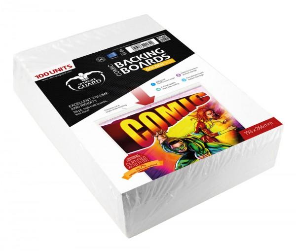 100 hochwertige Backing Boards zur sicheren Archivierung von Comics. - 100% säurefrei (durch unabhängiges Labor zertifiziert)- Hohe Stabilität und Volumen- Hohe Dicke von mind. 26 pt., weniger Fasern- Mind. 7% Kalciumkarbonat-Pufferung- Vollflächig beschi